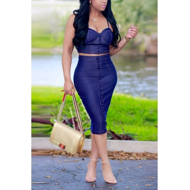 Sexy Single-breasted Decorative Blue Denim Two-piece Skirt Set