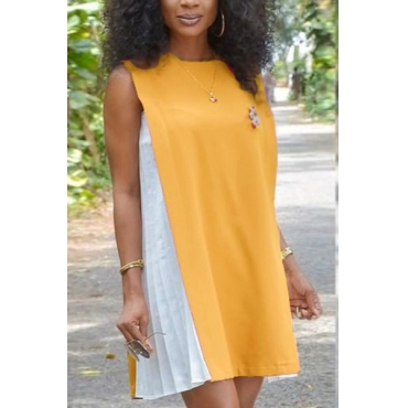 Casual Round Neck Tank Sleeveless Patchwork Khaki Chiffon Mini Dress