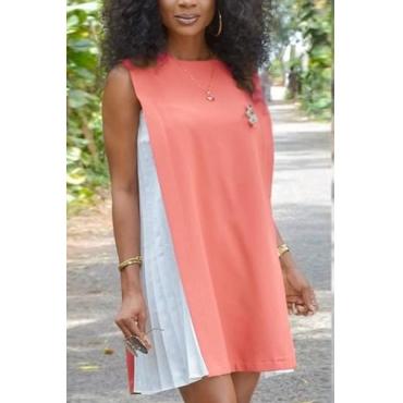 Casual Round Neck Tank Sleeveless Patchwork Pink Chiffon Mini Dress
