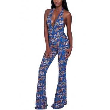 Sexy Printed Backless Blue Polyester One-piece Jumpsuits