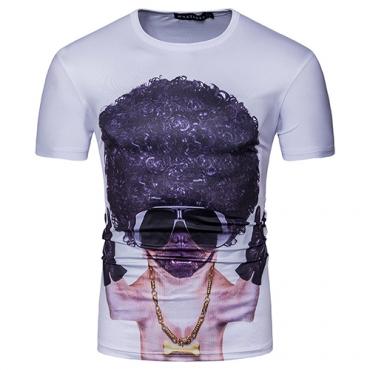 Stylish Round Neck Short Sleeves Printed White Cotton Blends T-shirt