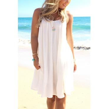 Sexy Round Neck Backless White Chiffon Mini Dress