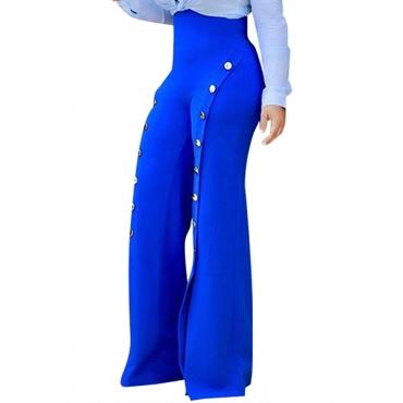 Stylish High Waist Buttons Decorative Blue Chiffon Pants