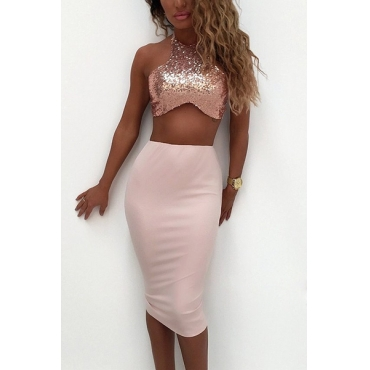 Sexy Backless Pink Blending Two-piece Skirt Set