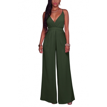 Polyester Solid Loose Jumpsuits