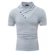 Freizeit Turtleneck Kurzarm-T-Shirts Dekoratives Hellgraues Baumwoll-T-Shirt