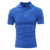 Leisure Turtleneck Short Sleeves Buttons Decorative Royalblue Cotton T-shirt