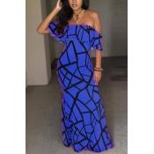 Очаровательные с короткими рукавами Falbala Design Blue Milk Fiber Sheath Anchle Length Dress