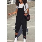 Stylish Black Polyester One-piece Jumpsuits