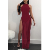 Sexy See-Through Wine Robe rouge en satin taille cheville