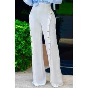 Elegante alta cintura botones de gasa blanca decorativa