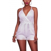 Sexy Backless White Cotton One-piece Jumpsuits