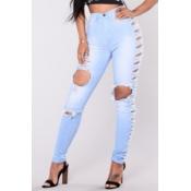 хлопка сплошной молнии летают регулярные высокие брюки джинсы