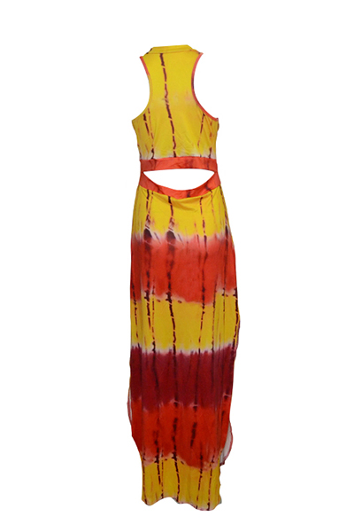 Na moda em torno do pescoço sem mangas Impresso Side Dividir Red Qmilch Bainha Ankle Comprimento do vestido