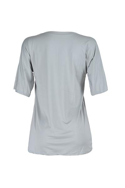 Euramerican V Neck Short Sleeves Broken Holes Grey Qmilch Mini Dress