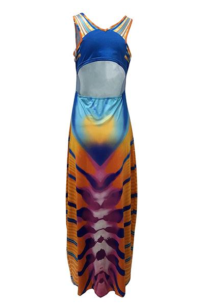 Модное волокно Мода U Шея без рукавов Платья линии