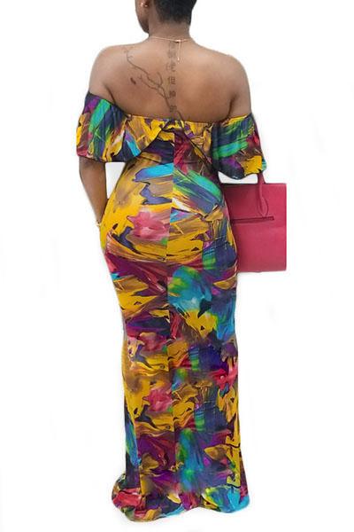 qmilch печати Бато шеи короткий рукав платья длиной до пола