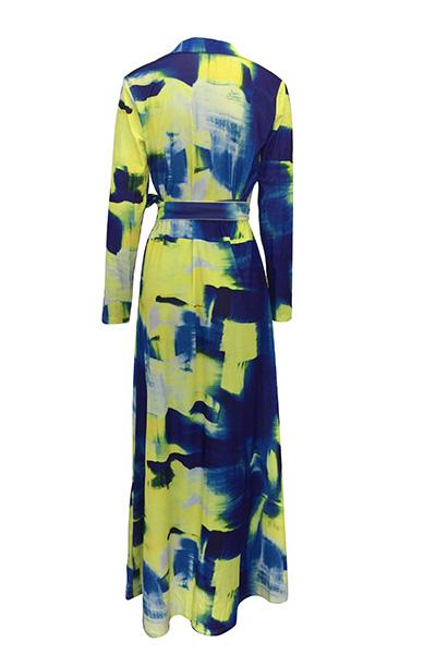 Euramerican V Neck Long Sleeves Graffiti Printing Healthy Fabric Floor length Dress