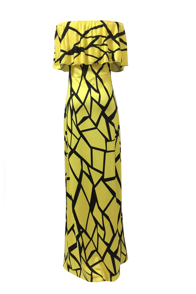 Encanto Bateau Neck mangas curtas Falbala Design amarelo leite Fibra bainha vestido de comprimento tornozelo