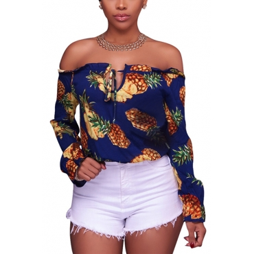 Stylish Long Sleeves Pineapple Printing Knitting Tops