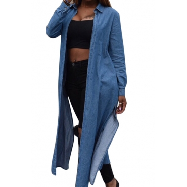 Leisure Turndown Collar Long Sleeves Side Split Blue Denim Long Coat