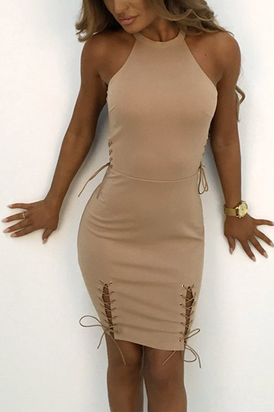 Stylish Round Neck Khaki Polyester Sheath Mini Dress