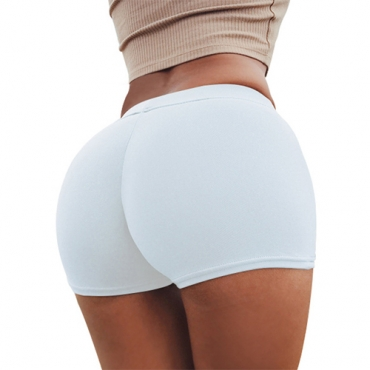 Leisure Elastic Waist White Polyester Skinny Shorts