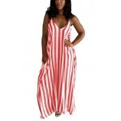 Elegante V Neck Striped Red Blending Ankle Length Dress
